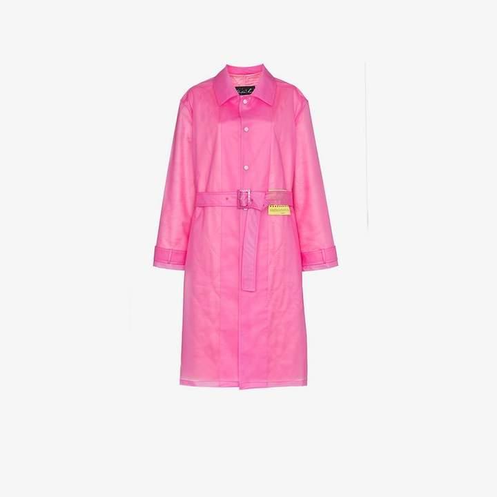 patch embellished belted rain coat