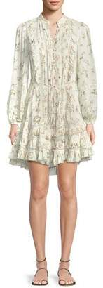 Zimmermann Whitewave Pintuck Floral-Print Ruffle Mini Dress