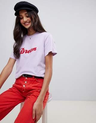 Miss Selfridge dream slogan t-shirt in lilac