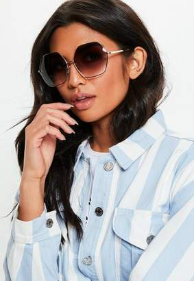 Missguided Look Oversized Hex Sunglasses