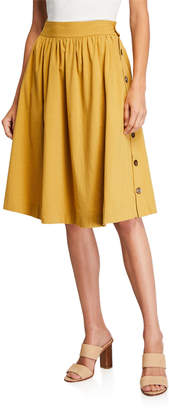 Lumie Side-Button Fit-&-Flare Skirt