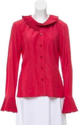 Kenzo Pleated Button-Up Top