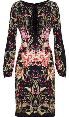 Roberto Cavalli Embellished Floral-Print Jersey Dress