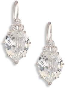 Anzie Classique Pear White Topaz& White Sapphire Drop Earrings