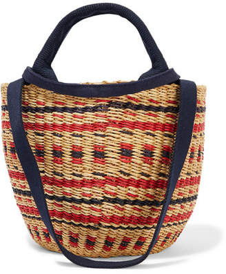 Muun Elisa Straw And Cotton-canvas Tote - Red