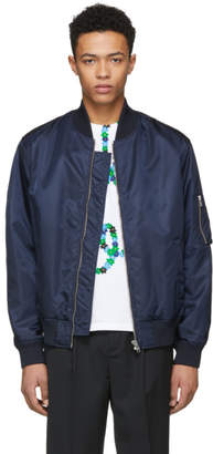 Kenzo Navy Signature Logo Bomber Jacket