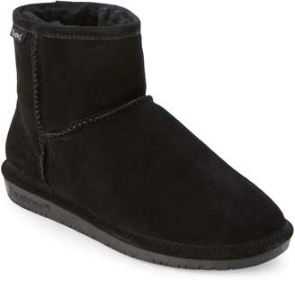 BearPaw Black Demi Real Fur Mini Boots