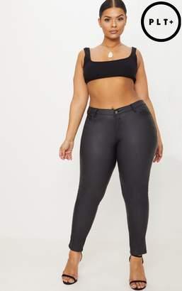 PrettyLittleThing Plus Black Coated 5 Pocket Skinny Jeans