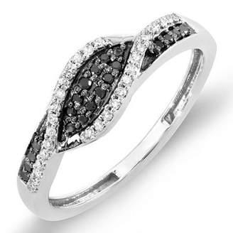 DazzlingRock Collection 0.25 Carat (ctw) 14K White Gold Black & White Diamond Ladies Cocktail Right Hand Ring 1/4 CT (Size 8.5)