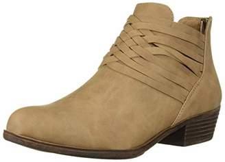 Sugar Rhett Women's Casual Boho Short Ankle Bootie with Criss Cross Straps Boot