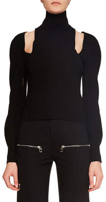 Chloé Turtleneck Cutout-Shoulder Long-Sleeve Knit Cashmere Sweater