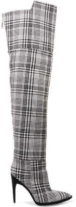 Off-White - Tartan Textured-knit Over-the-knee Boots - Gray $1,929 thestylecure.com