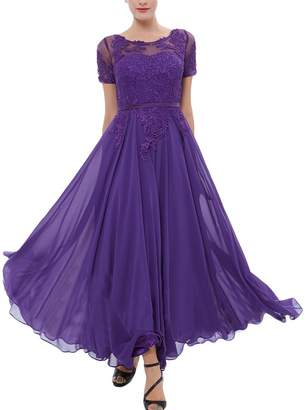 Modeldress Women's Chiffon Mother of Bride Dress Tea Length Formal Evening Gown with Sleeves