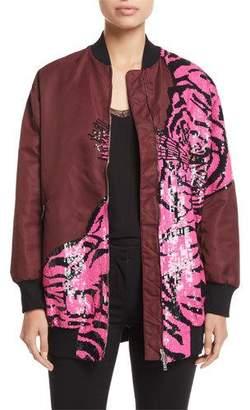 Valentino Tiger Paillette-Embroidered Oversized Nylon Bomber Jacket