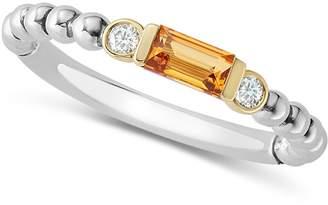 Lagos 18K Gold & Sterling Silver Citrine & Diamond Stacking Ring
