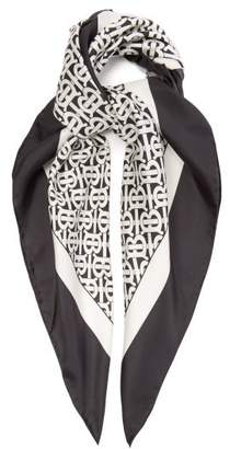 Burberry Monogram Print Silk Scarf - Womens - Black