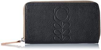Orla Kiely Flower Stem Embossed Leather Big Zip Wallet Wallet