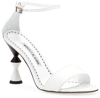 Manolo Blahnik Leda Leather Ankle-Wrap Sandals with Sculpted Heel