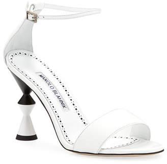 0eea9fba2ef Manolo Blahnik Leda Leather Ankle-Wrap Sandals with Sculpted Heel