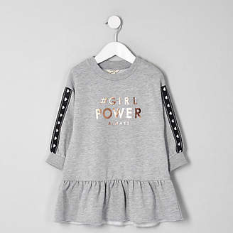 River Island Mini girls grey 'girl power' sweat dress