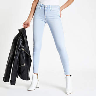 River Island Womens Light Blue Molly frayed jeggings