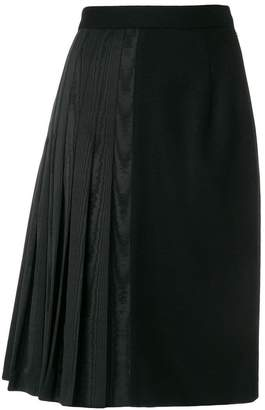 Thom Browne Moire Half Pleated Pencil Skirt