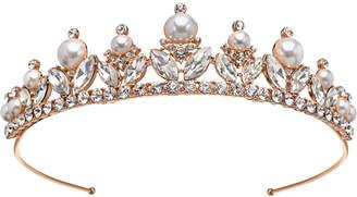 Badgley Mischka Rose Gold-Tone Crystal & Imitation Pearl Tiara