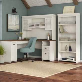 Beachcrest Home Oakridge Desk with Hutch and Bookcase Set