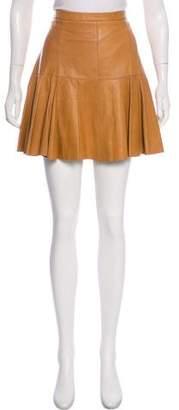 Halston Pleated Leather Skirt