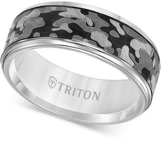 Triton Laser-Engraved Camo Band in White Tungsten Carbide