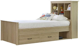 Jeppe Oak King Single Bed with Bookshelves & Drawers