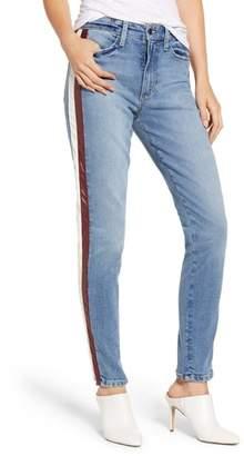 Joe's Jeans Charlie Lambskin Leather Stripe High Waist Ankle Skinny Jeans
