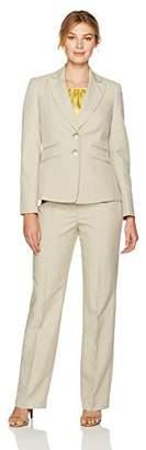 Le Suit Women's Glazed Melange 2 Button Notch Lapel Pant Suit W/Cami