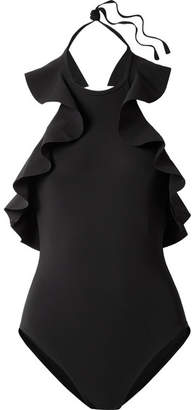 Karla Colletto Zaha Ruffled Halterneck Swimsuit - Black