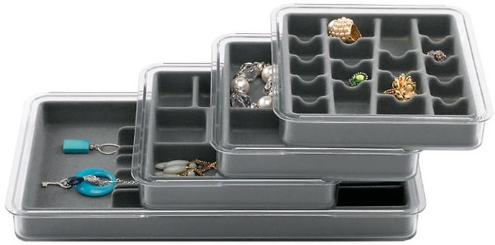 Container Store 9-Section Stacking Tray Grey