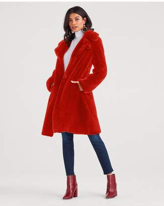 7 For All Mankind Faux Fur Long Chubby Coat In Fire Red