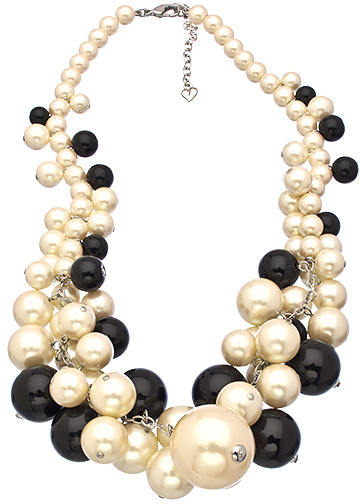Carolee A Pearl Affair Black White and Gold Cluster Necklace