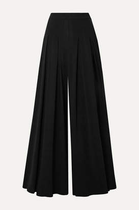 Oscar de la Renta Pleated Stretch-crepe Wide-leg Pants - Black