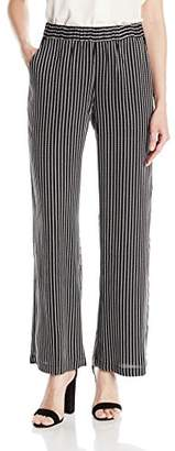 Rafaella Women's Petite Size Woven Stripe Textured Pull on Pant