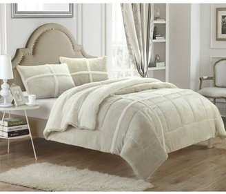 Chic Home Chiron 7-Piece Sherpa Lined Plush Microsuede Comforter Set
