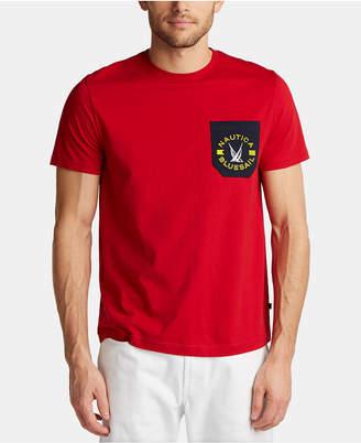 Nautica Men Blue Sail Logo Graphic Contrast Pocket T-Shirt