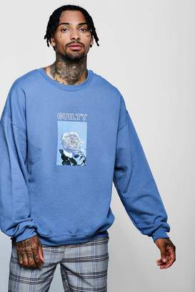 boohoo Guilty Pleasures Chest Print Oversized Sweater