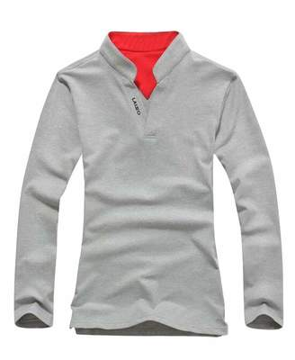 f795d4edd2f0 Pivaconis Mens Long Sleeve Stand Collar Slim Fit Casual Color Block Golf  Polo Shirt Light Grey