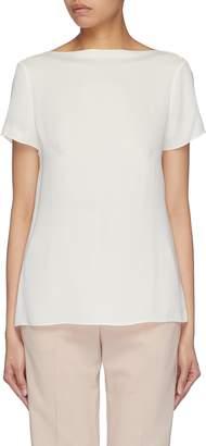 Theory Cutout back boatneck silk T-shirt