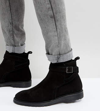 Asos Design Wide Fit Chelsea Boots In Black Leather With Strap Detail