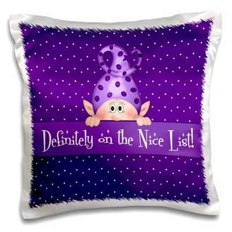 3dRose Purple and White Girly Polka Dot Elf Definitely on the Nice List - Pillow Case, 16 by 16-inch