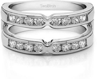 TwoBirch Brilliant Moissanite Mounted in Sterling Silver Traditional Style X Design Jacket Ring (0.82ctw)