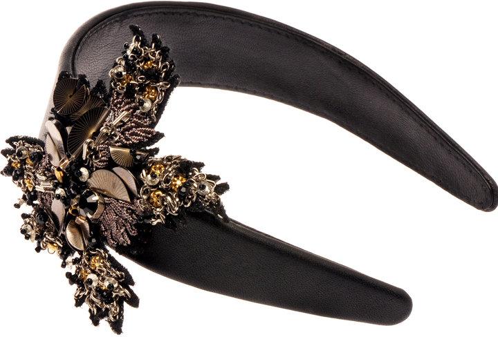 Deepa Gurnani Leather Headband with Flower Detail
