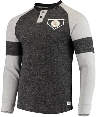 Stitches Men's Black Chicago White Sox Twisted Yarn Henley Raglan Long Sleeve T-Shirt