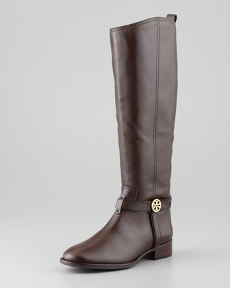 Tory Burch Bristol Leather Riding Boot, Coconut